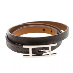Hermes Hapi 3 Grey Leather Palladium Plated Wrap Bracelet S