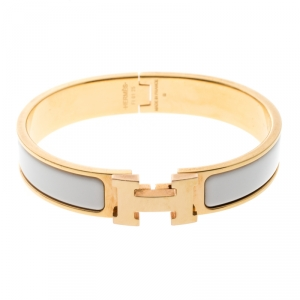 Hermes Clic Clac H White Enamel Rose Gold Plated Narrow Bracelet PM