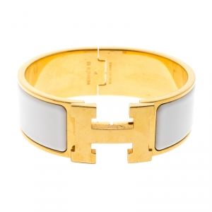 Hermes Clic Clac H White Enamel Gold Plated Wide Bracelet GM
