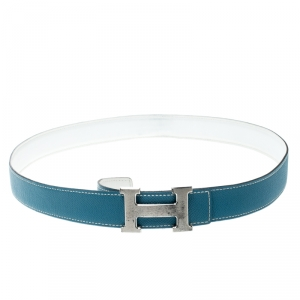 Hermes Sky Blue/White Leather Reversible Silver Brushed Finished H Buckle Belt 95cm