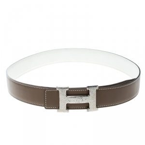 Hermès Taupe/White Leather Reversible Silver Hammered Finished H Buckle Belt 80cm