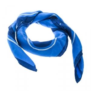 Hermes Vintage Blue Tigre Royal Printed Silk Square Scarf