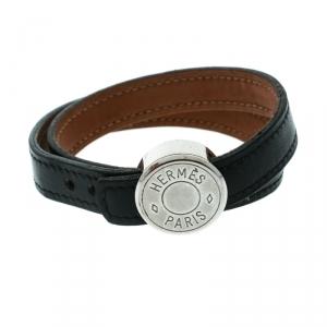 Hermes Black Looping Interchangeable Leather Palladium Plated Bracelet