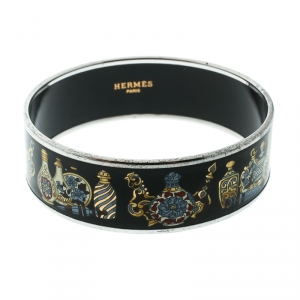 Hermès Black Perfume Bottle Print Enamel Palladium Plated Wide Bangle Bracelet