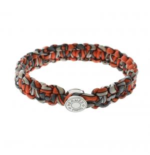 Hermes Kid Silk Orange Multiprint Braided Cord Toggle Bracelet
