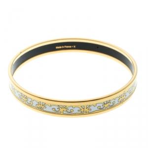 Hermes Balcons Du Guadalquivir Printed Enamel Gold Plated Bangle Bracelet