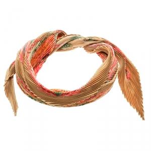 Hermes Multicolor Amazonia Printed Plisse Silk Diamond Scarf