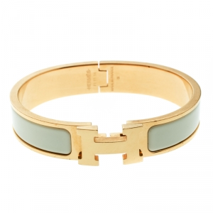Hermes Clic Clac H Cream Enamel Gold Plated Narrow Bracelet PM