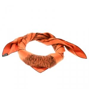 وشاح هيرمس نقش عشب حرير برتقالي