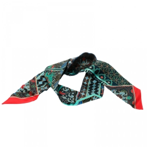 Hermes Multicolor Horse Printed Silk Twilly Scarf