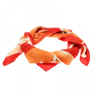 Hermes Orange Sur Les Rives Du Leman Printed Silk Square Scarf