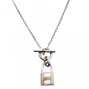 Hermes Cadenas Kelly Sterling Silver Pendant Necklace