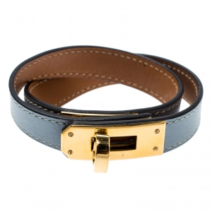 Hermes Kelly Double Tour Grey Leather Gold Plated Wrap Bracelet