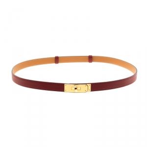 حزام هيرمس كيلي بمعدن ذهبي وجلد إيبسوم كاساك أحمر 96.5 سم