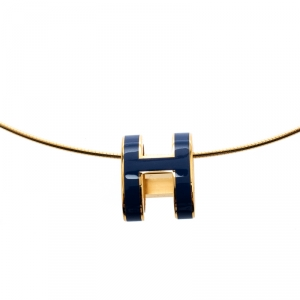 Hermes Pop H Royal Blue Lacquer Gold Plated Pendant Necklace