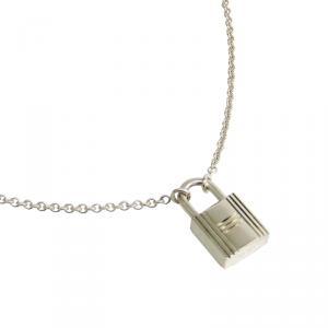 Hermes Cadenas Kelly Lock Sterling Silver Pendant Necklace