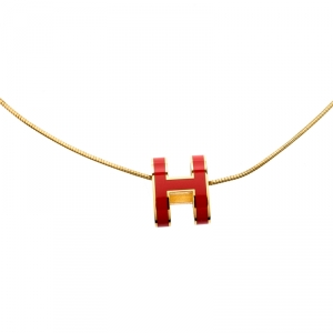Hermes Pop H Coral Pink Lacquer Gold Plated Pendant Necklace
