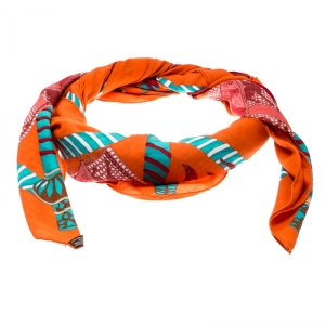 Hermes Multicolor Etendards et Bannieres Printed Cashmere and Silk Shawl