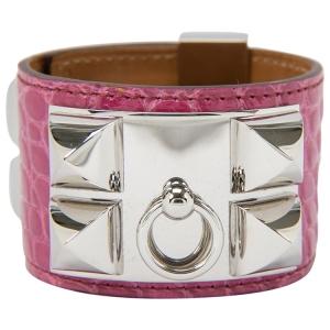 Hermes Collier De Chien Pink Alligator Leather Palladium Plated Cuff Bracelet S