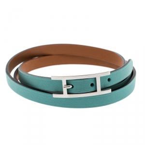 Hermes Hapi 3 Light Blue Leather Palladium Plated Wrap Bracelet M