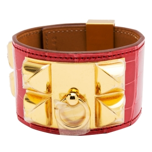 Hermes Collier De Chien Red Alligator Leather Gold Plated Cuff Bracelet S