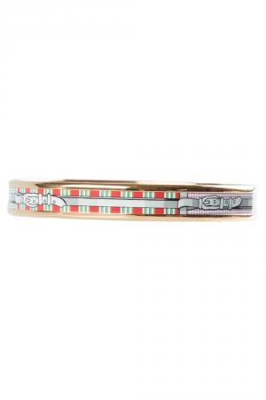 Hermes Multicolor Belt Printed Enamel Gold Plated Bangle Bracelet