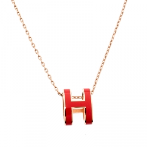 Hermes Pop H Pink Lacquered Rose Gold Plated Pendant Necklace
