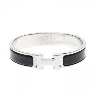 Hermes Clic-Clac H Black Enamel Palladium Plated Narrow Bracelet PM