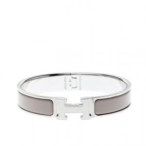Hermes Clic-Clac H Grey Enamel Palladium Plated Narrow Bracelet GM