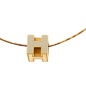 Hermes Cage d'H White Enamel Gold Plated Pendant Necklace
