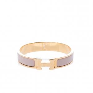 Hermes Clic Clac H Blush Pink Enamel Gold Plated Narrow Bracelet PM