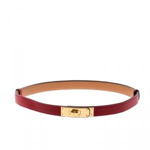 حزام هيرمس كيلي جلد ابسوم أحمر