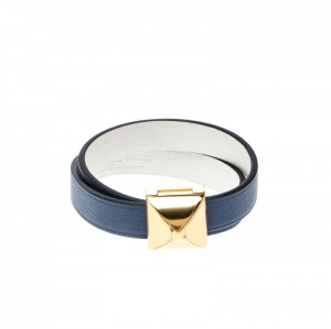 Hermes Medor Infini Blue Leather Gold Tone Double Tour Bracelet