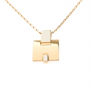 Hermes Eileen White Lacquered Gold Plated Pendant