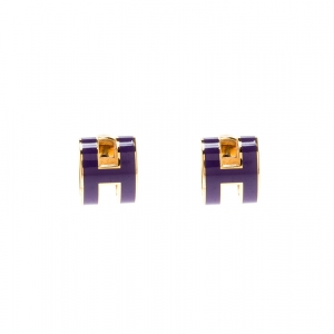 Hermes Pop H Purple Lacquered Gold Plated Stud Earrings