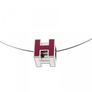 Hermes Cage d'H Pink Lacquer Palladium Plated Pendant Necklace