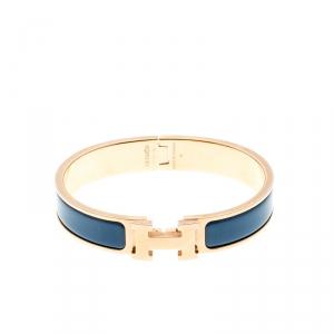 Hermes Clic Clac H Blue Enamel Gold Plated Narrow Bracelet PM