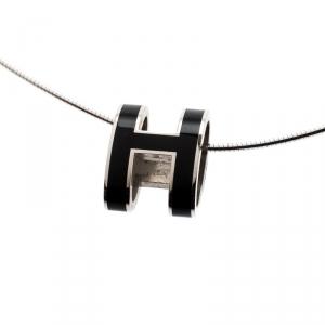 Hermes Pop H Black Lacquer Palladium Plated Pendant