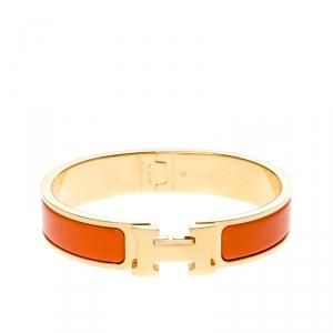 Hermes Clic Clac H Orange Enamel Gold Plated Narrow Bracelet PM