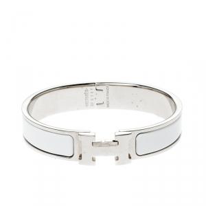 Hermès Clic H White Enamel Palladium Plated Narrow Bracelet PM