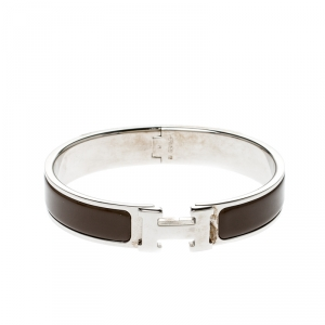 Hermes Clic Clac H Brown Enamel Palladium Plated Narrow Bracelet GM
