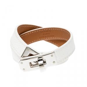 Hermes Kelly Double Tour White Leather Palladium Plated Wrap Bracelet S
