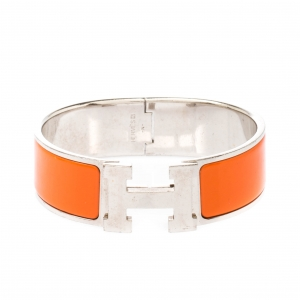 Hermès Clic Clac H Orange Enamel Palladium Plated Wide Bracelet GM
