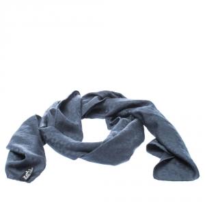 Hermes Slate Grey Cashmere Silk Façonnée Grand H Jacquard Scarf
