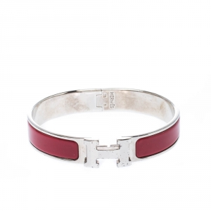 Hermes Clic Clac H Red Enamel Palladium Plated Narrow Bracelet GM