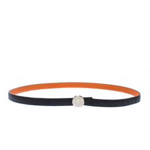 Hermes Black/Orange Leather Reversible Belt
