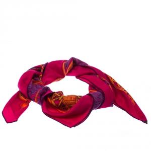 Hermes Fuchsia Pink Printed Cashmere & Silk Shawl