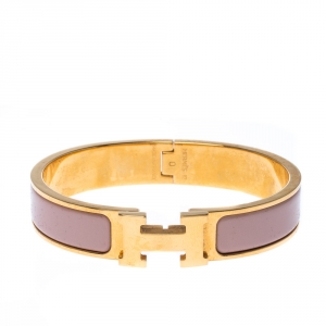 Hermes Clic Clac H Dusty Pink Enamel Gold Plated Narrow Bracelet PM