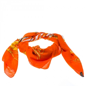 Hermes Orange Zodiac Print Cotton Scarf