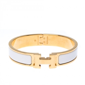Hermes Clic Clac H White Enamel Gold Plated Narrow Bracelet PM